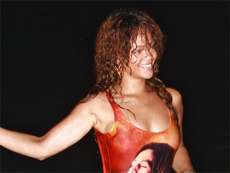 416a1351a7Piece.jpg Rihanna Wet and in a One Piece Bob Marley Bathing Suit of the Day